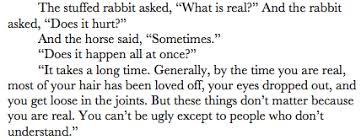 sallysbutter: The Velveteen Rabbit as quoted in... | via Relatably.com