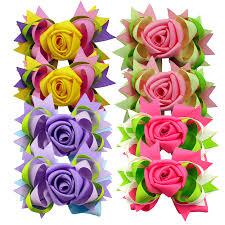"Large Rose Flower Hair Bows Girls <b>5</b>"" Big DIY Stacked Grosgrain ..."