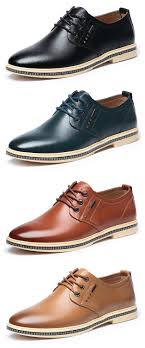 <b>Men British</b> Style Retro <b>Casual</b> Oxfords Flat Lace Up Leather Formal ...