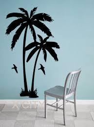 palm tree wall stickers: palm trees tropic landscape giant wall sticker vinyl art decal window silhouette stencil living room decor