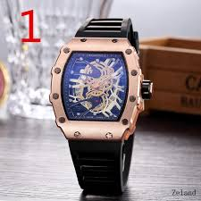 <b>Barrel</b>-<b>shaped</b> men's watch hollow watch large dial silicone watch ...