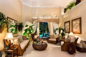 tropical living rooms: tropical living room with nearly natural banana tree in pot high ceiling crown molding