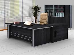 elegant black l shaped desk design with silver color touch on the desk decoration painting best office table design