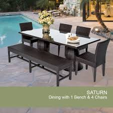 patio dining: espresso saturn rectangular outdoor patio dining table with  chairs and  bench design furnishings