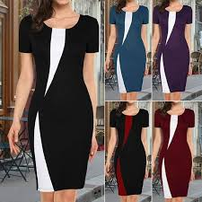 New <b>Fashion</b> Women Colorblock <b>Office</b> Elegant <b>Dress</b> Lady Classic ...