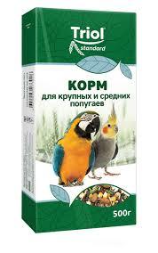 корм triol для крупных и средних попугаев 500 г