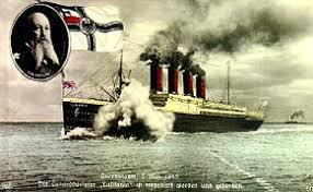 「the Lusitania was torpedoed just off the coast of Ireland location」の画像検索結果