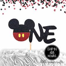 <b>1 pc ONE Mickey</b> Mouse Head Red Black Glitter Cake Topper for ...