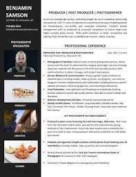 sample resumes career story actual resume photography producer photographer and post producer