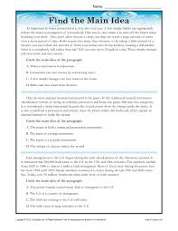 High School Main Idea Reading Passage WorksheetFind the Main Idea: Three Reading Passages