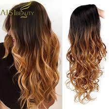 AISI BEAUTY <b>Long</b> Synthetic Wigs Wavy Wig for Women Ombre ...