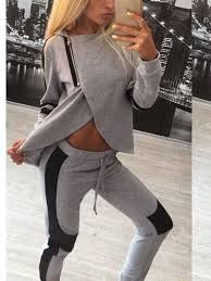 New Grey Patchwork Drawstring <b>Zipper</b> 2-in-1 Sports <b>Long</b> Jumpsuit ...