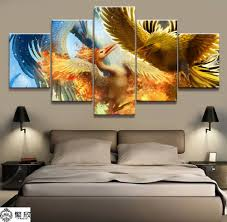 5 Panel Pokemon Zapdos/Articuno/Moltres Canvas <b>Printed</b> Painting ...