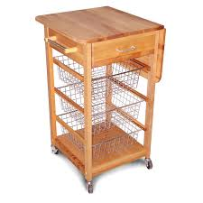leaf kitchen cart: drop leaf kitchen cart with chrome baskets