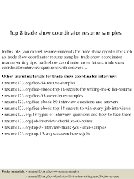 top  trade show coordinator resume samplestop  trade show coordinator resume samples in this file  you can ref resume materials