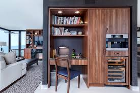 entertainment center with desk in home office contemporary with bookcases alcove alcove office