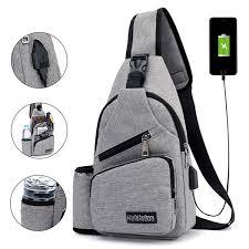 <b>Large Capacity</b> Casual <b>Outdoor Travel</b> USB Charging Port Sling ...