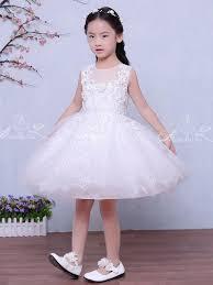 <b>Lovely Lace</b> White Tulle Handmade Applique Sleeveless <b>Flower Girl</b> ...