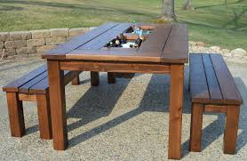 modern patio set outdoor decor inspiration wooden: we built this patio table with flower boxes set down inside of them