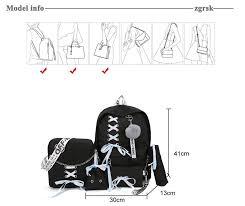 Chain <b>USB Backpack Women Canvas</b> 5pcs/set <b>Women Backpack</b> ...