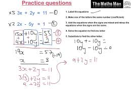 solving simultaneous equations by elimination practice questions solving simultaneous equations by elimination practice questions and answers