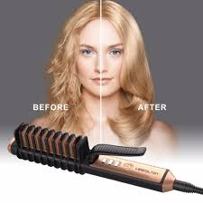2 in 1 <b>Fast Hair Straightener</b> Comb Ionic <b>hair</b> Electric <b>brush</b> ceramic ...