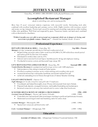 hotel and restaurant service resume bottle service resume sample