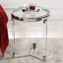 Contemporary Round Acrylic <b>Side</b> Table & Glass End Table ...