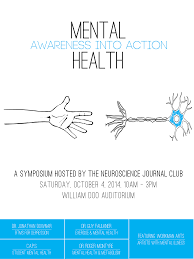 symposium mental health – awareness into action Â� new college  an image of the mental health awareness into action poster