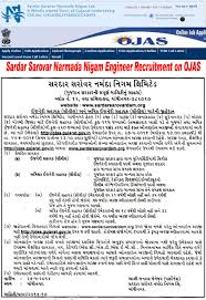sardar sarovar narmada nigam engineer recruitment apply ojas gujarat gov in sardar sarovar nigam civil engineer jobs 2016