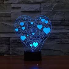 <b>Love Hearts</b> Pattern Colorful <b>3D</b> LED Lamp | Drawings | Led lamp ...