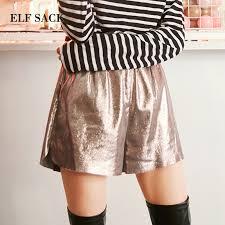 ELF SACK <b>Autumn New Woman Shorts</b> Casual Solid Mid Waist Slim ...