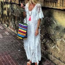 Bohemian Lace Dress <b>2021 VONDA Women</b> Ruffle Solid Color ...