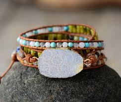 Handmade <b>Natural Chrysanthemum Gemstone</b> Leather Wrap Bracelet