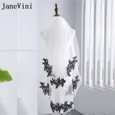 JaneVini 2018 Gothic White/Ivory Wedding <b>Short</b> Veil With <b>Black</b> ...