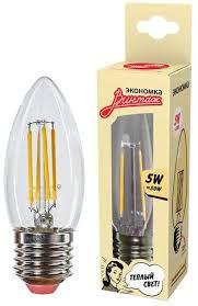 <b>Лампочка Экономка</b> Винтаж <b>LED</b> Филамент, Теплый свет, <b>E27</b>, 5 ...