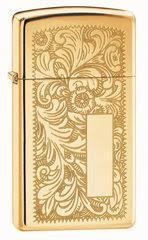 <b>Зажигалка Zippo Slim</b> Venetian Brass, с покрытием High Polish ...