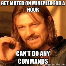 Get muted on Mineplex for a hour Can't do any commands - one-does ... via Relatably.com