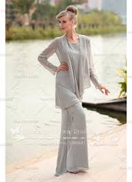 <b>Elegant gray Chiffon</b> three Piece mother of the bride dresses pants ...