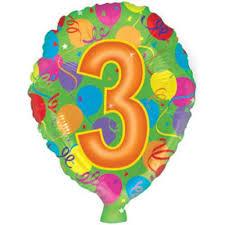 <b>Воздушный шар</b> цифра, 3 (46 см)