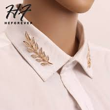 Simple <b>Retro Gold</b>/<b>Silver</b> Color Leave Style Shirt Collar Brooch for ...