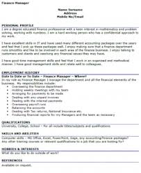 finance manager cv example   icover org uk