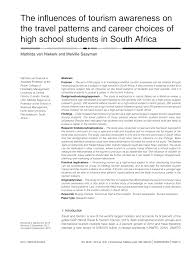 the in uences of tourism awareness on the travel patterns and the in64258uences of tourism awareness on the travel patterns and career choices of high school students in south africa pdf available