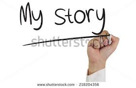 Image of a hand holding marker and write My Story isolated on white Shutterstock