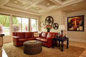 themed family rooms interior home theater: red leather sectional home theater traditional with brown rug coffered ceiling