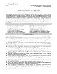 Construction Project Manager Resume Example  construction and       resume for project manager happytom co
