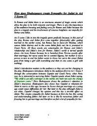 how does shakespeare create sympathy for juliet in act  scene     page  zoom in