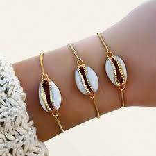 1 Pcs New Fashion Style <b>Wholesale Gold Color</b> Genuine Cowrie ...