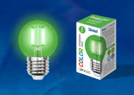 <b>Лампа</b> светодиодная (UL-00002988) <b>E27 5W</b> зеленый <b>LED</b>-<b>G45</b> ...