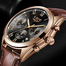 <b>LIGE Mens Watches Top</b> Brand Luxury Waterproof 24 Hour Date ...